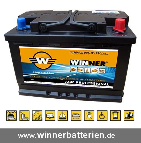 solarbatterie 85ah agm batterie wohnmobil boot batterie. Black Bedroom Furniture Sets. Home Design Ideas