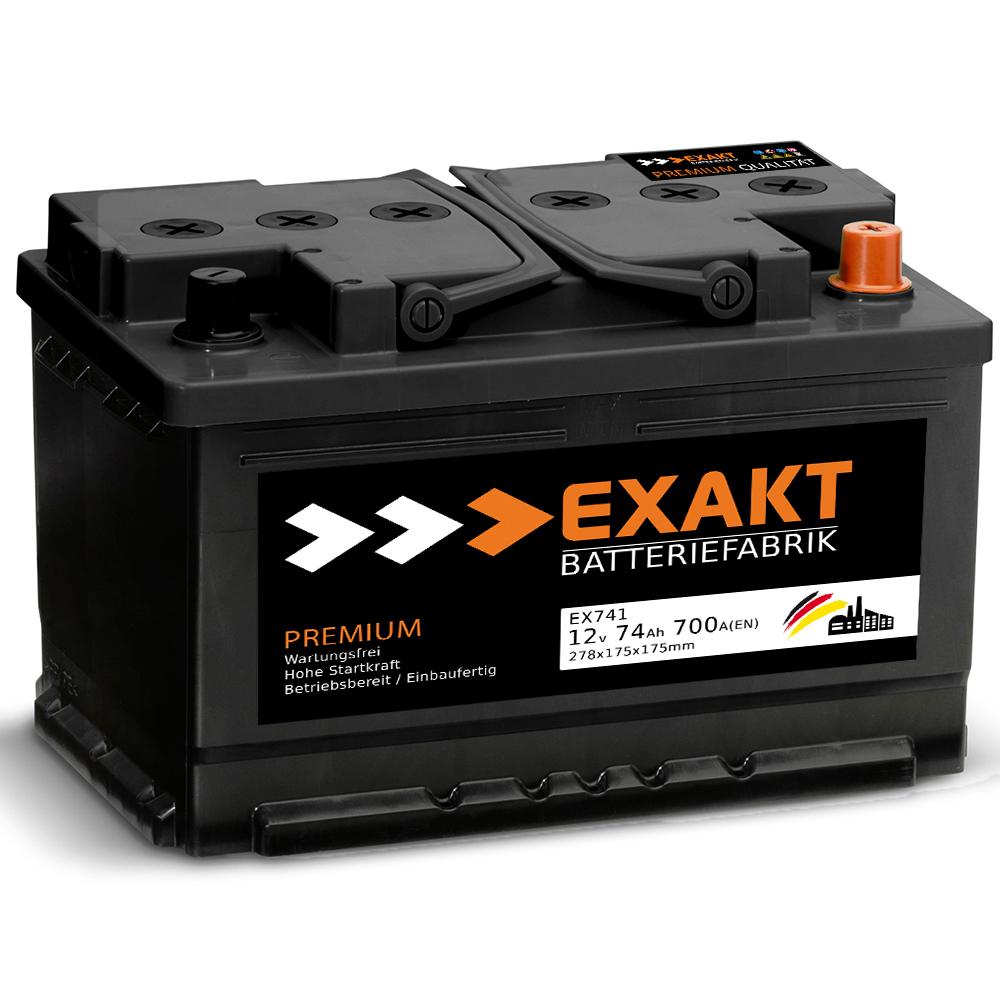 exakt autobatterie starterbatterie 12v 74ah 750a en. Black Bedroom Furniture Sets. Home Design Ideas