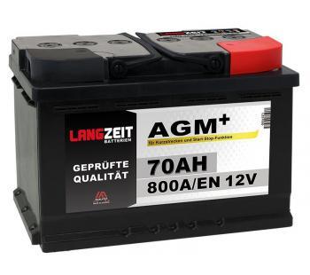 Langzeit AGM+ 70AH 12V VRLA Autobatterie