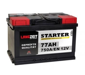 LANGZEIT Starter Autobatterie 77Ah 12V 750A