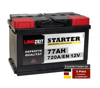 LANGZEIT Starter Autobatterie 77Ah 12V