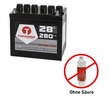 Tokohama Rasentraktor Batterie 28Ah 12V +Pol rechts