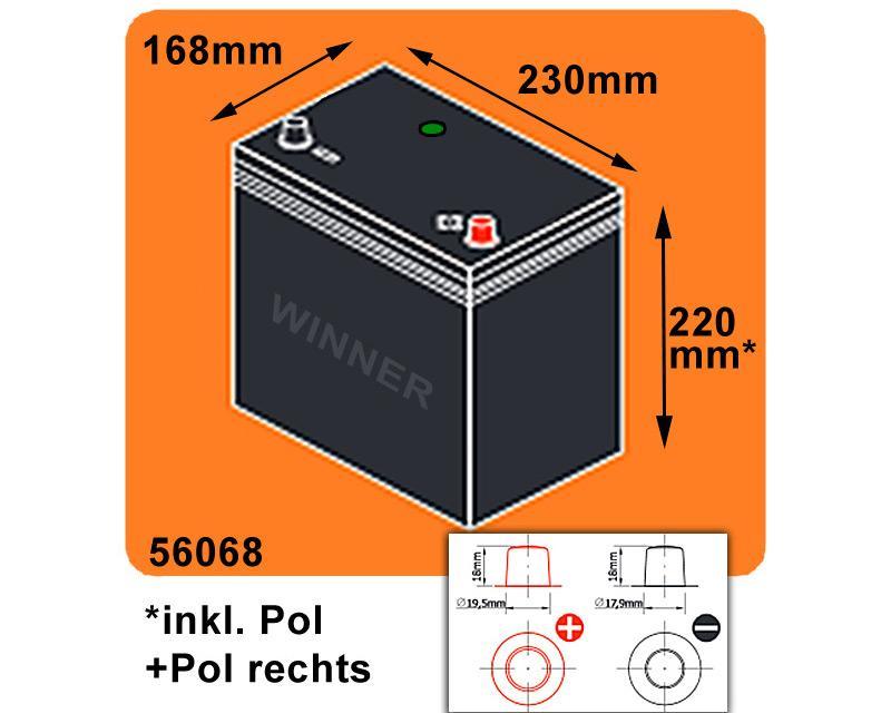 autobatterie asia 65ah 12v ersetzt 60ah pol rechts. Black Bedroom Furniture Sets. Home Design Ideas