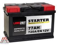 LANGZEIT Starter Autobatterie 77Ah 12V 720A