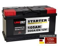 LANGZEIT Starter Autobatterie 105Ah 12V